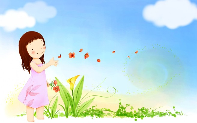 children-mood-summer-happy-cute-vector-girl-butterfly-flowers-sky-clouds-wallpaper-1